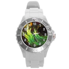 A Seaweed s Deepdream Of Faded Fractal Fall Colors Round Plastic Sport Watch (l) by jayaprime