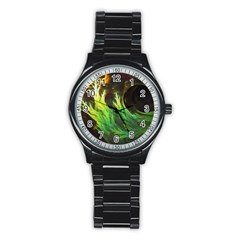 A Seaweed s Deepdream Of Faded Fractal Fall Colors Stainless Steel Round Watch by beautifulfractals