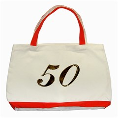 Number 50 Elegant Gold Glitter Look Typography Classic Tote Bag (red) by yoursparklingshop
