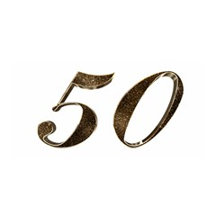 Number 50 Elegant Gold Glitter Look Typography Satin Wrap