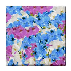 Tulips Flower Pattern Tile Coasters by paulaoliveiradesign