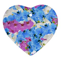 Tulips Flower Pattern Heart Ornament (two Sides) by paulaoliveiradesign