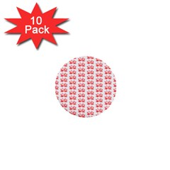 Red Lotus Floral Pattern 1  Mini Buttons (10 Pack)  by paulaoliveiradesign