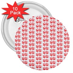 Red Lotus Floral Pattern 3  Buttons (10 Pack)  by paulaoliveiradesign