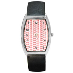 Red Lotus Floral Pattern Barrel Style Metal Watch by paulaoliveiradesign