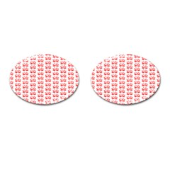 Red Lotus Floral Pattern Cufflinks (oval) by paulaoliveiradesign