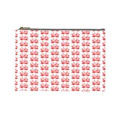 Red Lotus Floral Pattern Cosmetic Bag (large)