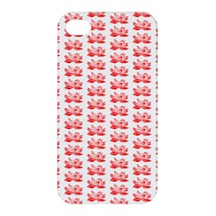 Red Lotus Floral Pattern Apple Iphone 4/4s Premium Hardshell Case by paulaoliveiradesign