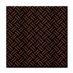 Woven2 Black Marble & Brown Wood Tile Coaster by trendistuff