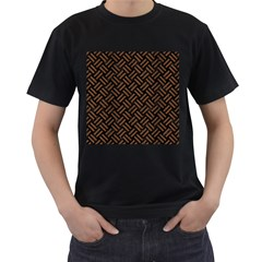 Woven2 Black Marble & Brown Wood Men s T Shirt (black) (two Sided) by trendistuff