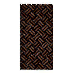 Woven2 Black Marble & Brown Wood Shower Curtain 36  X 72  (stall) by trendistuff