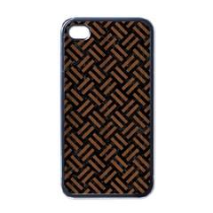Woven2 Black Marble & Brown Wood Apple Iphone 4 Case (black) by trendistuff