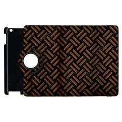 Woven2 Black Marble & Brown Wood Apple Ipad 3/4 Flip 360 Case by trendistuff