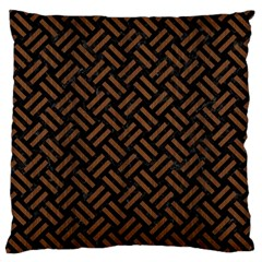 Woven2 Black Marble & Brown Wood Large Flano Cushion Case (two Sides) by trendistuff