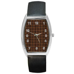 Woven1 Black Marble & Brown Wood (r) Barrel Style Metal Watch by trendistuff