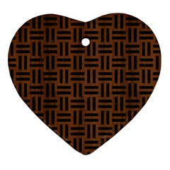 Woven1 Black Marble & Brown Wood (r) Heart Ornament (two Sides) by trendistuff