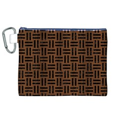 Woven1 Black Marble & Brown Wood (r) Canvas Cosmetic Bag (xl) by trendistuff