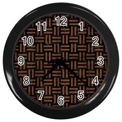 Woven1 Black Marble & Brown Wood Wall Clock (black) by trendistuff