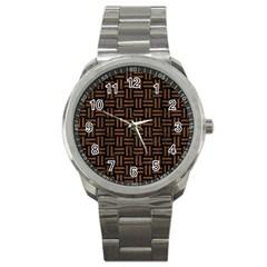 Woven1 Black Marble & Brown Wood Sport Metal Watch by trendistuff