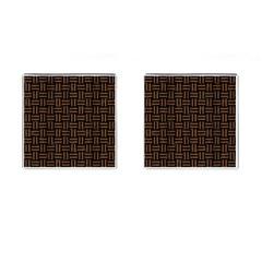 Woven1 Black Marble & Brown Wood Cufflinks (square) by trendistuff