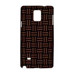 Woven1 Black Marble & Brown Wood Samsung Galaxy Note 4 Hardshell Case by trendistuff