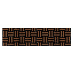 Woven1 Black Marble & Brown Wood Satin Scarf (oblong) by trendistuff