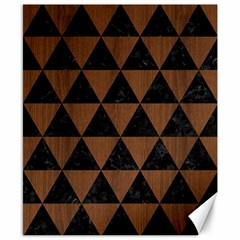 Triangle3 Black Marble & Brown Wood Canvas 8  X 10