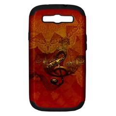 Golden Clef On Vintage Background Samsung Galaxy S Iii Hardshell Case (pc+silicone) by FantasyWorld7