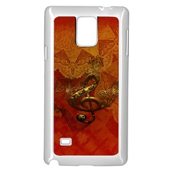 Golden Clef On Vintage Background Samsung Galaxy Note 4 Case (white) by FantasyWorld7