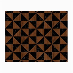 Triangle1 Black Marble & Brown Wood Small Glasses Cloth (2 Sides) by trendistuff