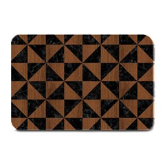 Triangle1 Black Marble & Brown Wood Plate Mat by trendistuff