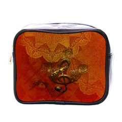 Golden Clef On Vintage Background Mini Toiletries Bags by FantasyWorld7