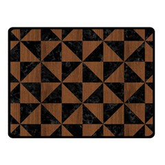 Triangle1 Black Marble & Brown Wood Fleece Blanket (small) by trendistuff