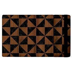 Triangle1 Black Marble & Brown Wood Apple Ipad 3/4 Flip Case by trendistuff