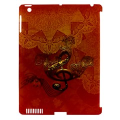 Golden Clef On Vintage Background Apple Ipad 3/4 Hardshell Case (compatible With Smart Cover) by FantasyWorld7
