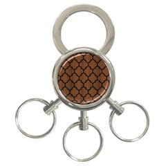 Tile1 Black Marble & Brown Wood (r) 3 Ring Key Chain by trendistuff