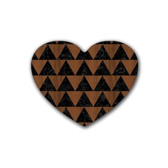 Triangle2 Black Marble & Brown Wood Rubber Coaster (heart) by trendistuff