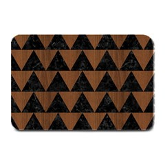Triangle2 Black Marble & Brown Wood Plate Mat by trendistuff