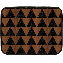 Triangle2 Black Marble & Brown Wood Fleece Blanket (mini) by trendistuff