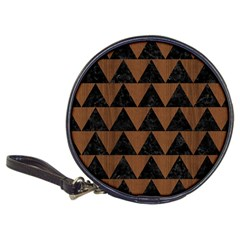 Triangle2 Black Marble & Brown Wood Classic 20 Cd Wallet by trendistuff