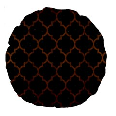 Tile1 Black Marble & Brown Wood Large 18  Premium Round Cushion  by trendistuff