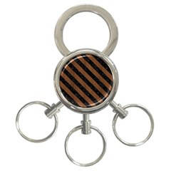 Str3 Bk Mrbl Br Wood (r) 3 Ring Key Chains by trendistuff