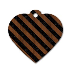 Str3 Bk Mrbl Br Wood (r) Dog Tag Heart (one Side) by trendistuff