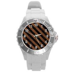 Str3 Bk Mrbl Br Wood (r) Round Plastic Sport Watch (l) by trendistuff