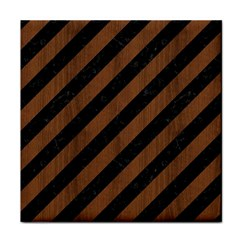 Stripes3 Black Marble & Brown Wood Tile Coaster by trendistuff