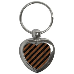 Stripes3 Black Marble & Brown Wood Key Chain (heart) by trendistuff