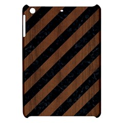 Stripes3 Black Marble & Brown Wood Apple Ipad Mini Hardshell Case by trendistuff