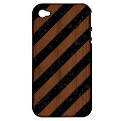 Stripes3 Black Marble & Brown Wood Apple Iphone 4/4s Hardshell Case (pc+silicone) by trendistuff