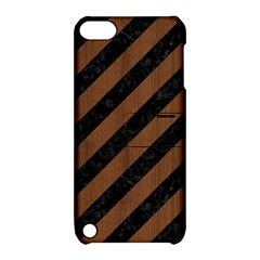 Stripes3 Black Marble & Brown Wood Apple Ipod Touch 5 Hardshell Case With Stand by trendistuff