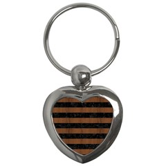 Stripes2 Black Marble & Brown Wood Key Chain (heart) by trendistuff